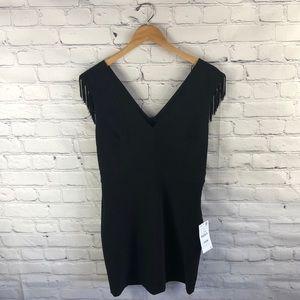Zara Basic Black Pleated Fitted Flapper Dress sz L